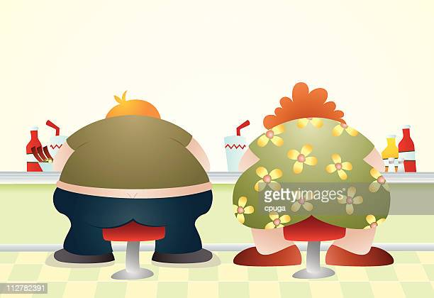 overweight - buttocks stock illustrations, clip art, cartoons, & icons