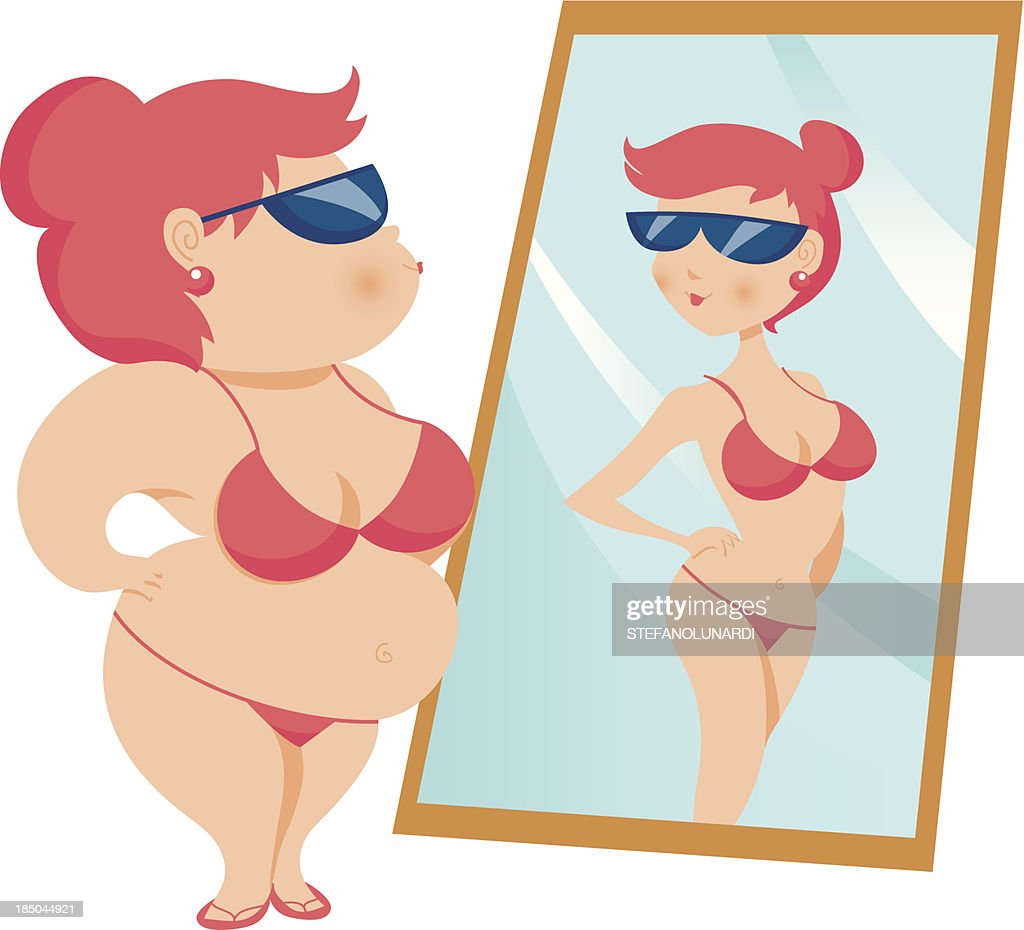 Overweight woman looking at a skinnier reflection