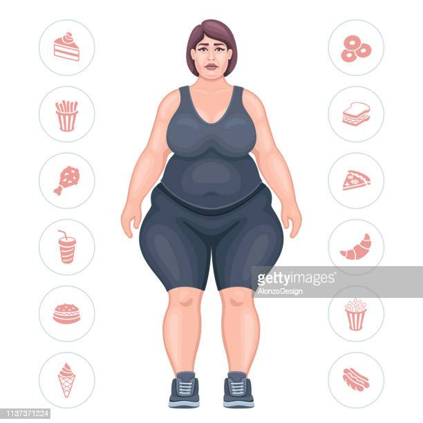 Overweight woman with depressed expression.