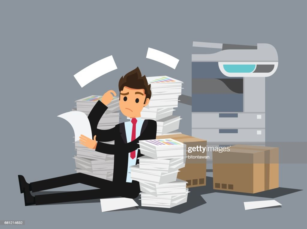 Overworked businessman . Business concept cartoon illustration