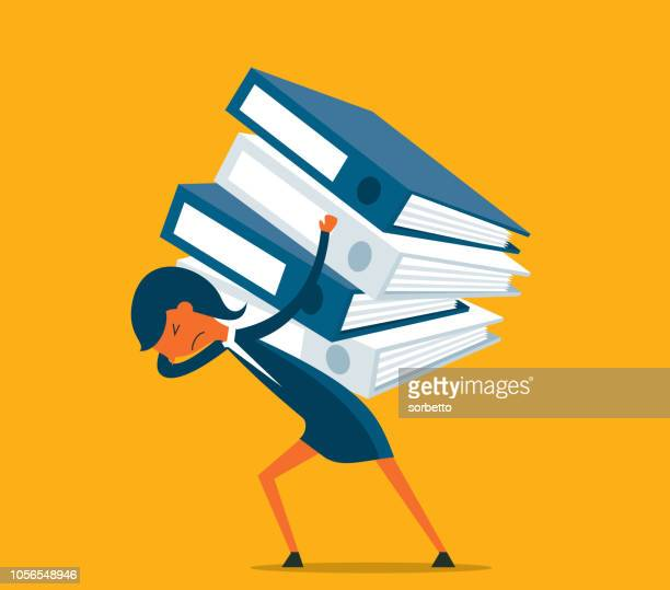 overworked - businesswoman - over burdened stock illustrations