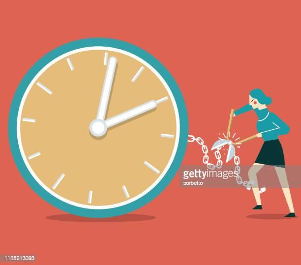 illustrations, cliparts, dessins animés et icônes de surchargés de travail - femme d'affaires - crouler sous le travail