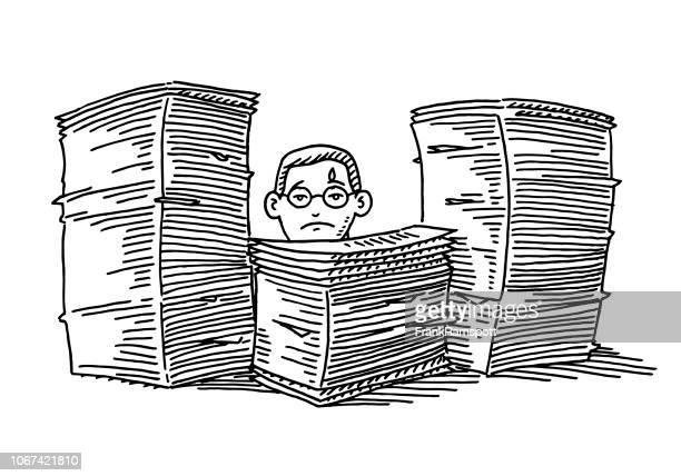 über-arbeitete büro mitarbeiter stapel papierkram zeichnung - papierkram stock-grafiken, -clipart, -cartoons und -symbole