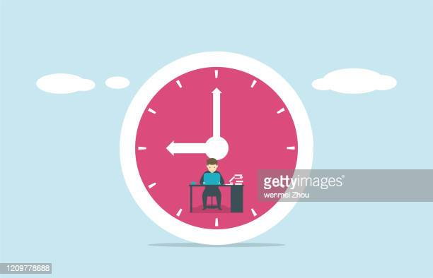 overworked - clock face stock illustrations
