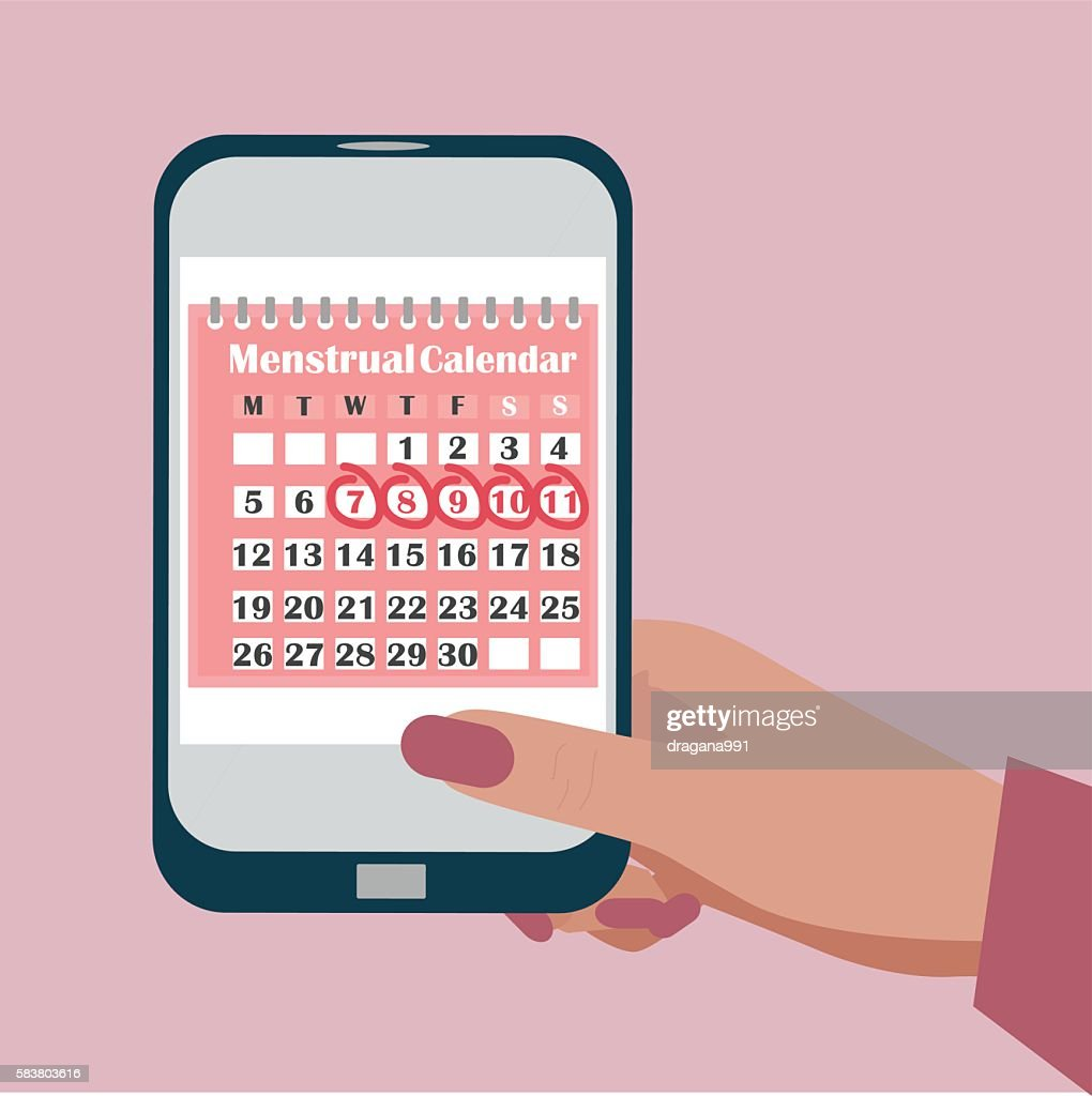 Ovulation calendar with marks menstrual days applications for mobile phone