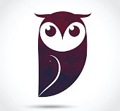 Owl abstract icon isolated on white