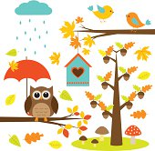Owl and birds autumn