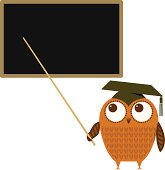 Owl and blackboard illustration