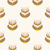Owl bird animal vector character seamless pattern wild childish or baby background illustration.
