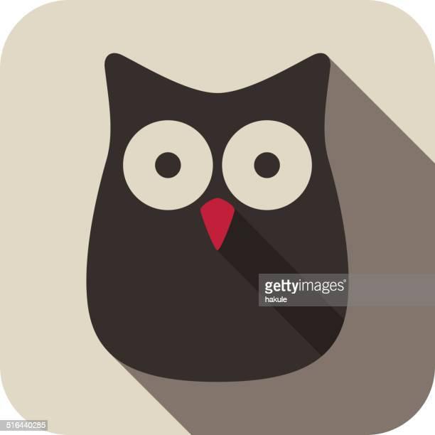 illustrations, cliparts, dessins animés et icônes de chouette oiseau série icône plate - chouette