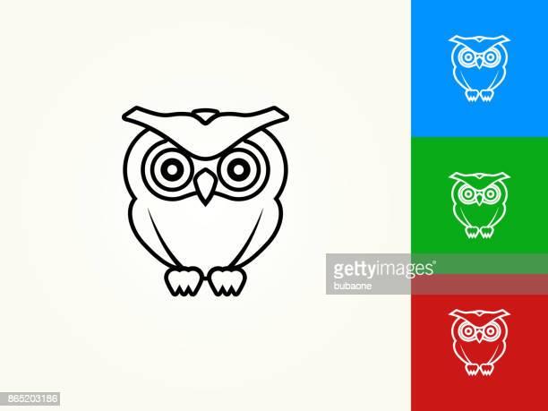 illustrations, cliparts, dessins animés et icônes de hibou noir avc icône linéaire - chouette