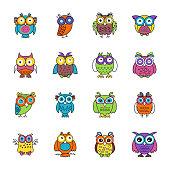 Owl Cartoon Flat Icons