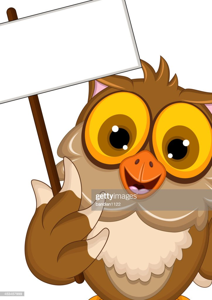 owl cartoon posing with blank sign