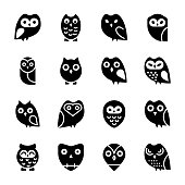Owl Cartoon Solid Icons
