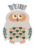 """Owl character greeting card with text  """"You're a Hoot"""". Editable labelled layers."""