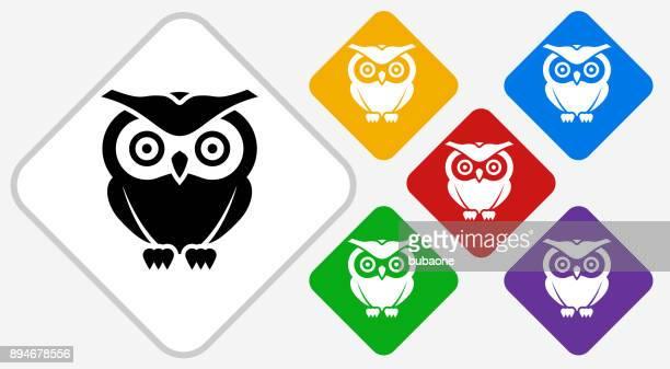 owl color diamond vector icon - bird of prey stock illustrations, clip art, cartoons, & icons