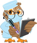 Owl Doctor in mask holds clipboard and pen