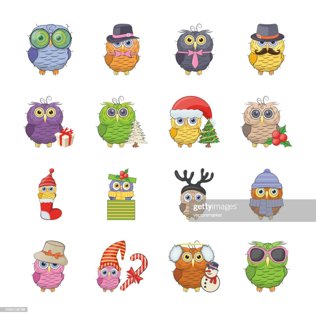 Owl drawing icons set