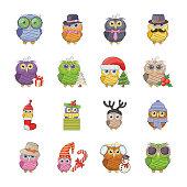 Owl drawing icons set