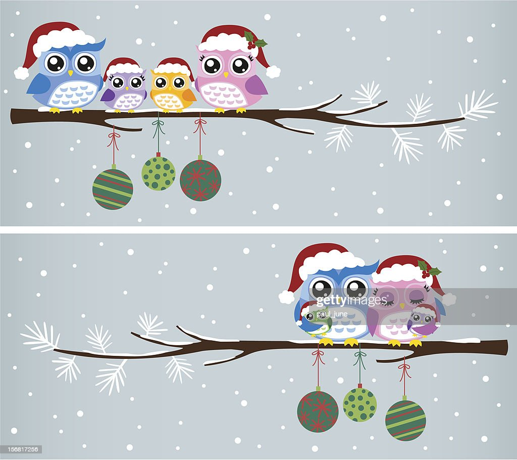 owl family christmas celebration