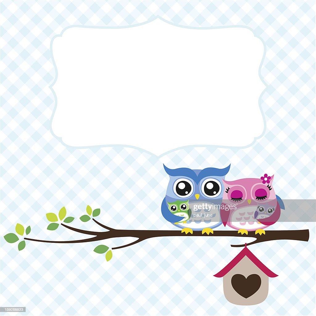owl family spring illustration