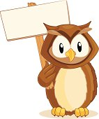 Owl holding a blank sign