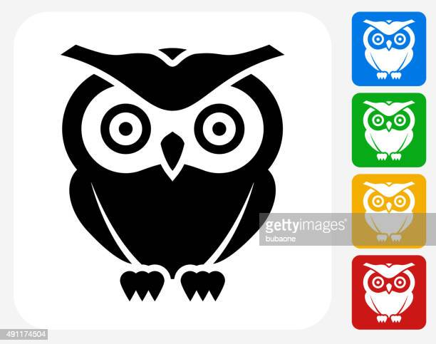 owl icon flat graphic design - owl stock illustrations, clip art, cartoons, & icons