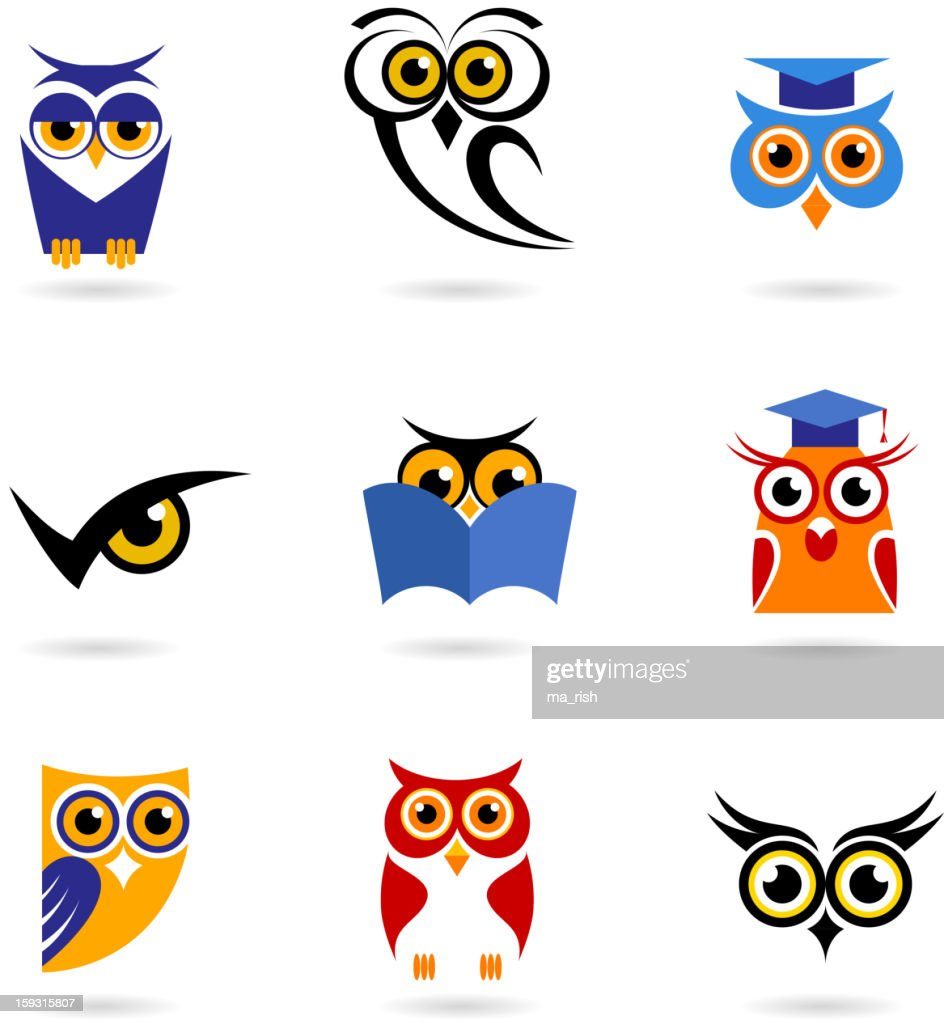 Owl icons - education