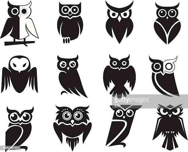 owl icons - owl stock illustrations