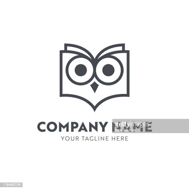 ilustrações, clipart, desenhos animados e ícones de coruja na forma de um molde do emblema do livro - lorem ipsum