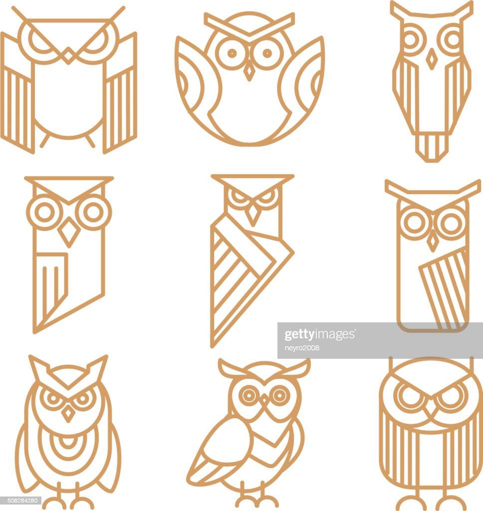 Owl line logos, emblems and labels vector set