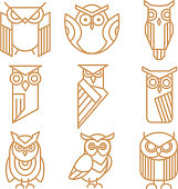 Owl line logos, emblems and labels vector set