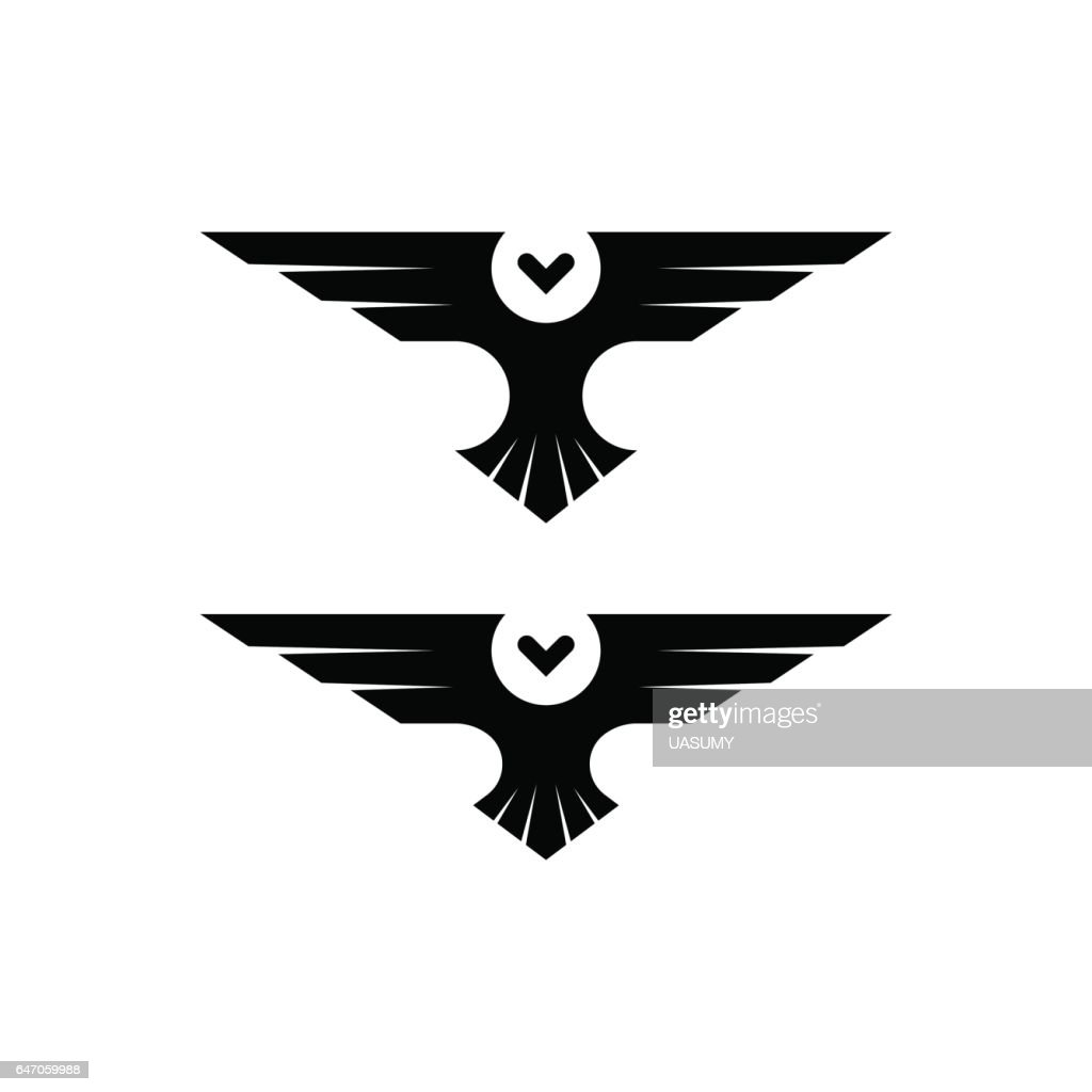 Owl logo, silhouette raptor in flight with spread wings in the style of negative space, simple black and white tattoo template