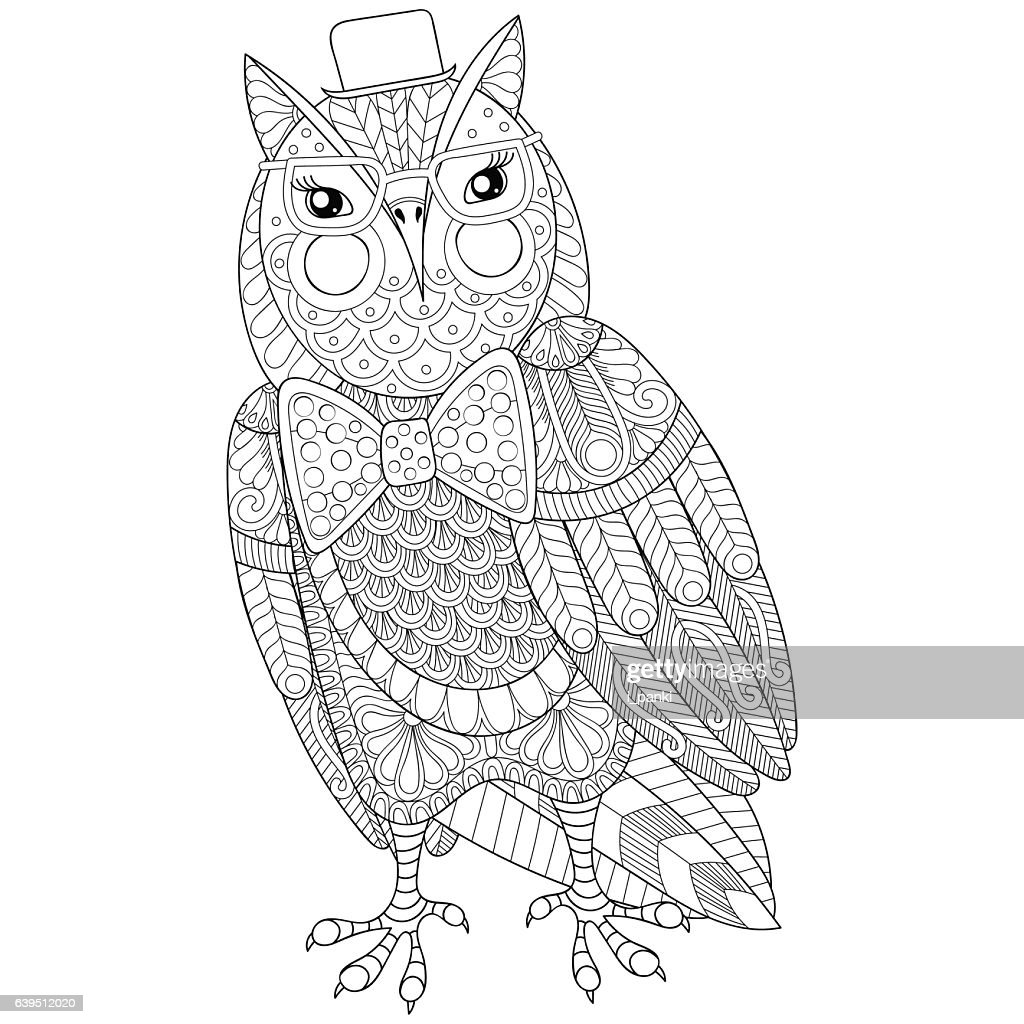 Owl painting for adult anti stress coloring page, book