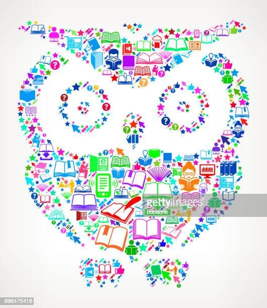 Owl Reading Books and Education Vector Icon Background