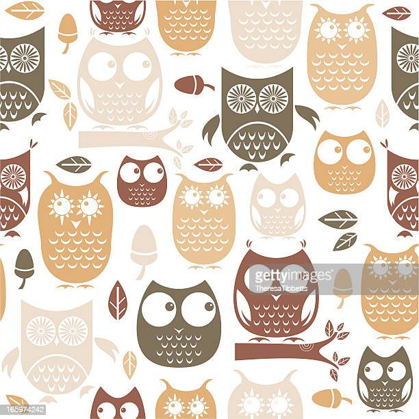 owl repeat pattern - owl stock illustrations, clip art, cartoons, & icons
