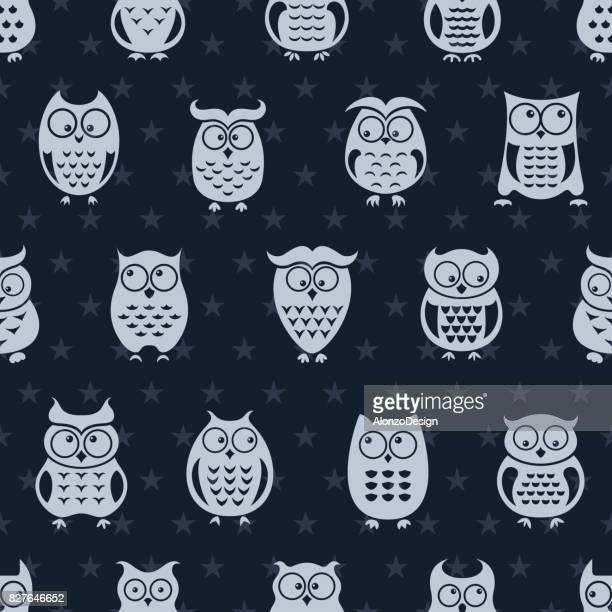 owl repeat pattern - animal markings stock illustrations, clip art, cartoons, & icons