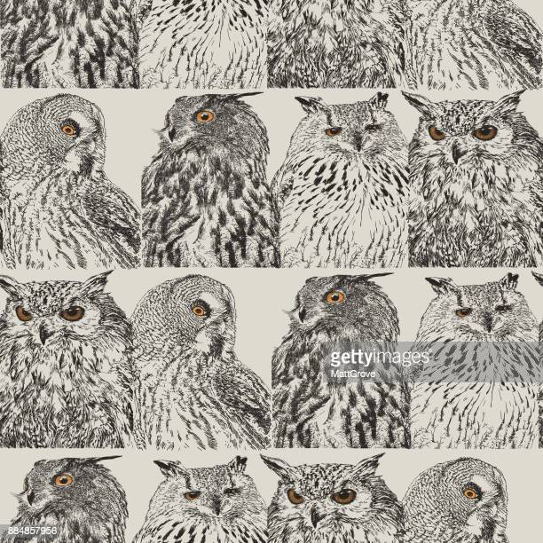 owl repeat pattern - owl stock illustrations