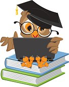 Owl sitting on books and holding a laptop