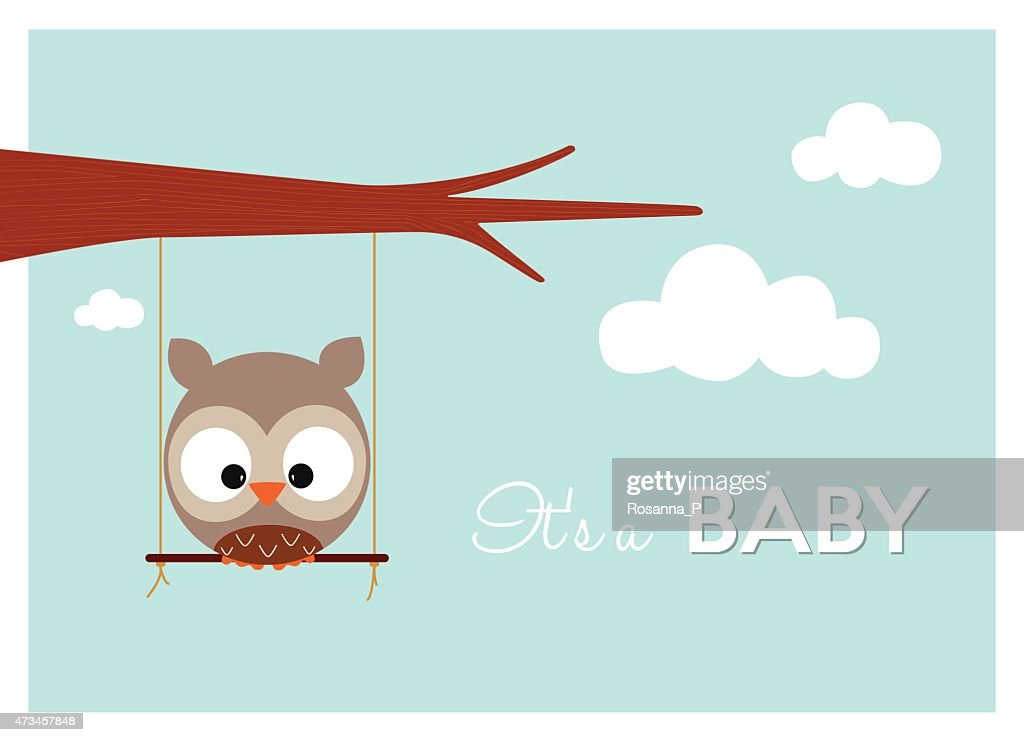 owl swinging on a swing announces arrival of a baby