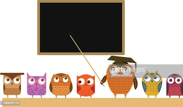 owl teacher and class - professor stock illustrations, clip art, cartoons, & icons