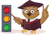 Owl teacher and traffic light