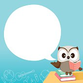 Owl Teaching On Table With Speech Bubble