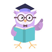 Owl wearing education cap holding book Vector Cartoon