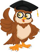 owl wearing graduation cap and thumb up