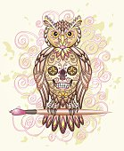 Owl with painted Mexican skull