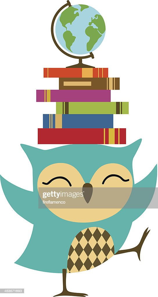 Owl with stack of books