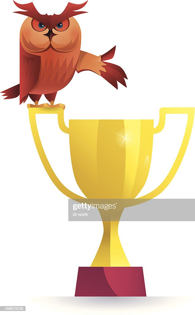 owl with trophy : stock illustration