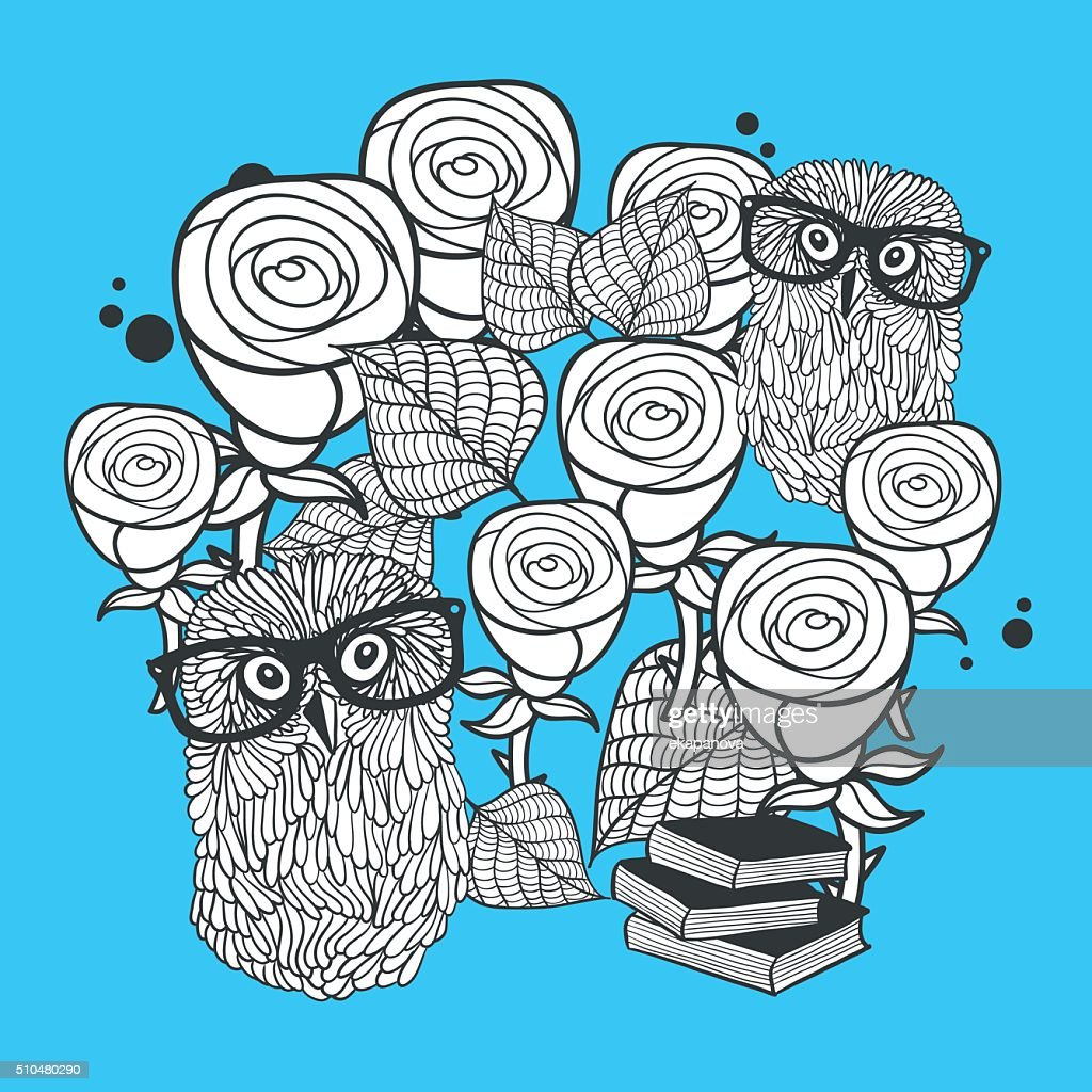Owls and roses. Vector illustration for coloring.