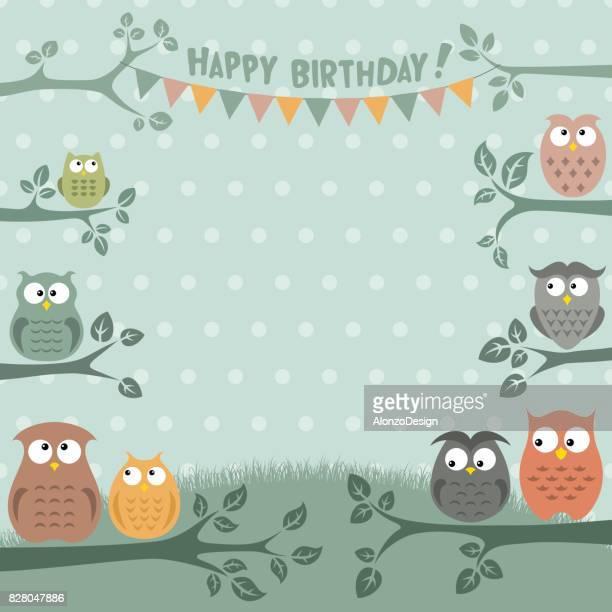 illustrations, cliparts, dessins animés et icônes de chouettes birthday party invitation - anniversaire enfant